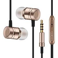 ZHIKE EP-03カナルイヤホン高音質音量調節マイク搭載通話機能軽量耳掛けマグネット式 iPhone/iPad/Android/Xperia対応 (ゴールド)