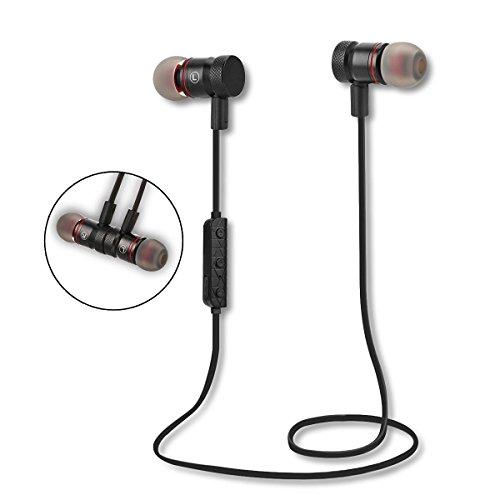 ALLUCKER ブラックBlack ワイヤレス イヤホン Bluetooth4.1 スポーツイヤホン 高音質 ノイズキャンセリング搭載 磁気吸引式 ジョギングに最適 iPhone/iPad/Android Bluetooth搭載デバイス対応