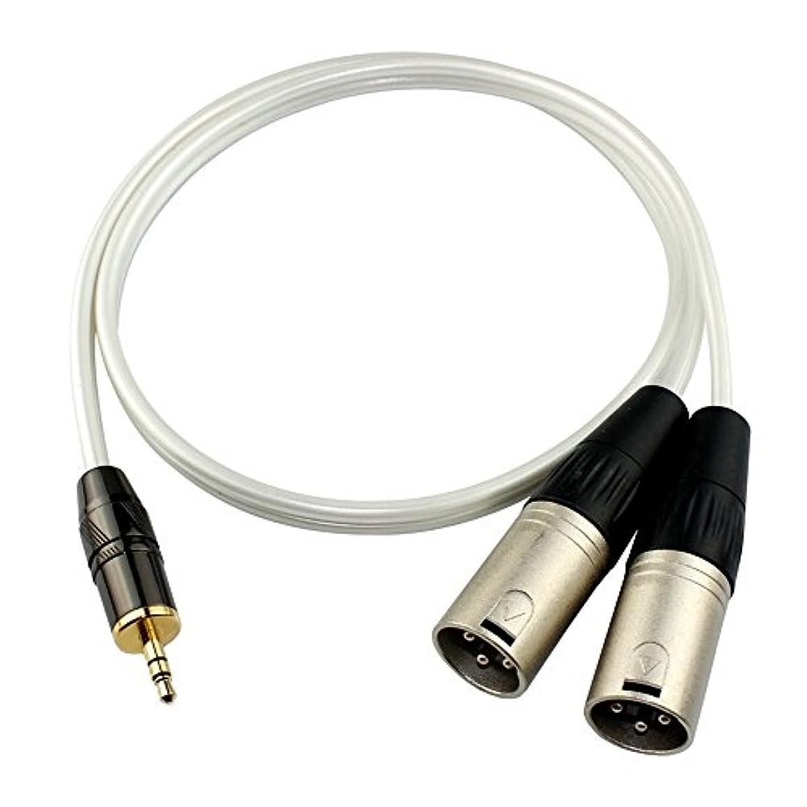 巻き取り魅力木製Gotor® XLRケーブル マイクケーブル 3.5mmステレオミニプラグ - XLR(オス) キャノン変換ケーブル オーディオケーブル 2XLR⇔3.5mm (0.5M)