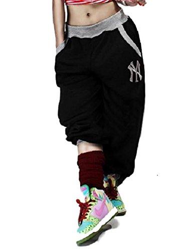 おしゃれ カッコイイ ダンス パンツ ヒップ ホップ サルエル スウェット メンズ レディース ジャージ ステージ 衣装 ユニセックス (ブラック XL)