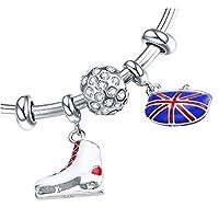 JAJAFOOK 英国ロンドン国旗スケートちらつか 人気新品 925 純銀製 腕飾 ギフト包装