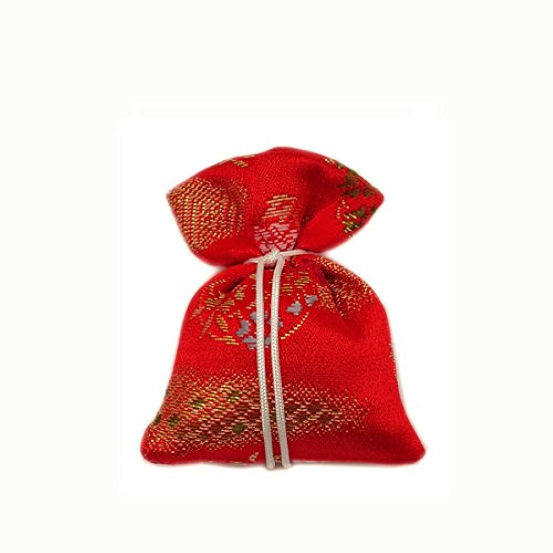 役に立たない刺繍局匂袋 巾着 金襴中 赤系