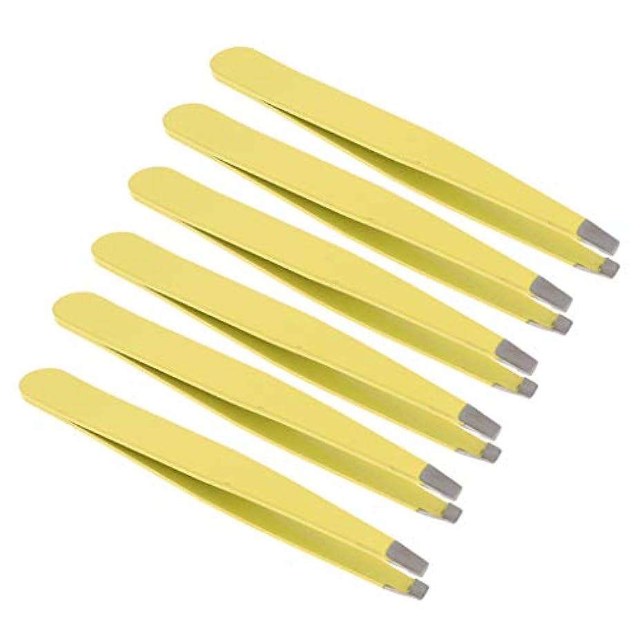 間欠基本的なスカートchiwanji 6個プロフェッショナル眉毛ピンセット美容傾斜ステンレス鋼ピンセット