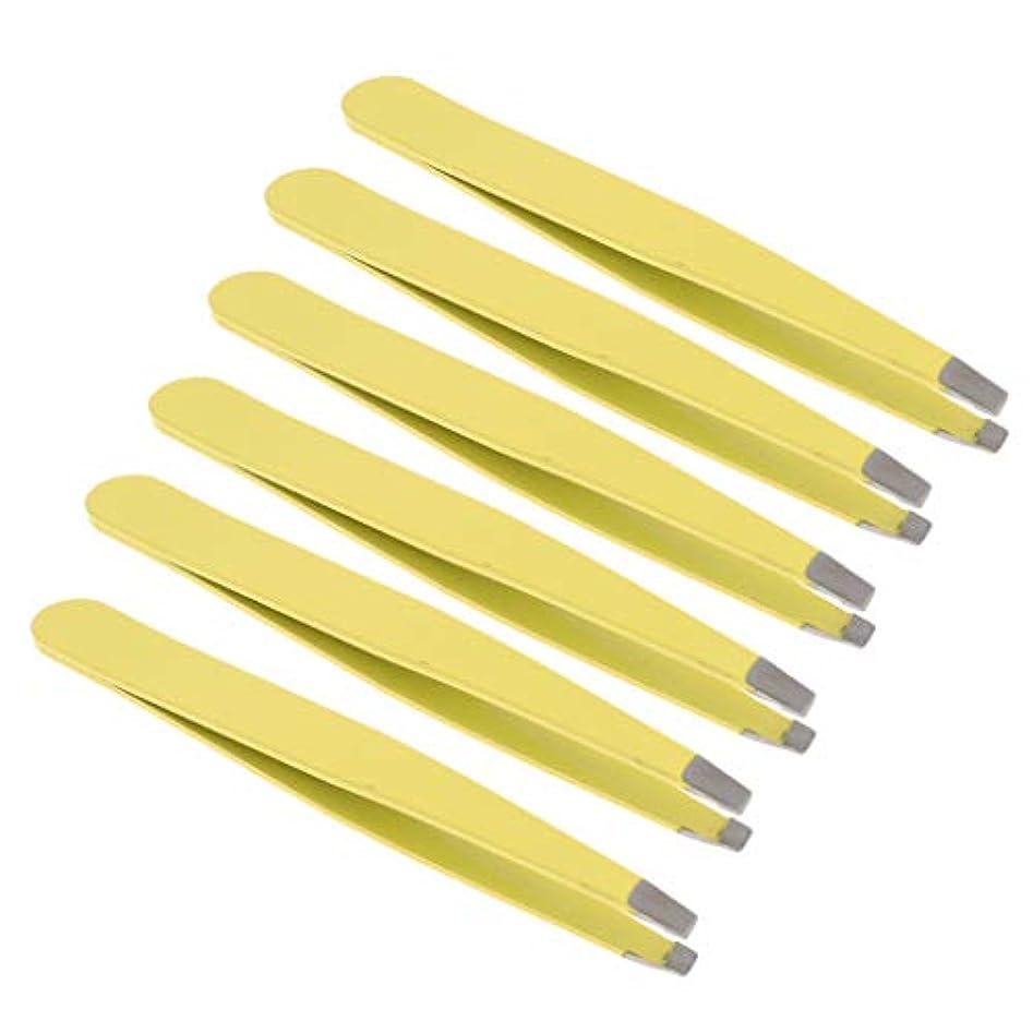 逆説常識とchiwanji 6個プロフェッショナル眉毛ピンセット美容傾斜ステンレス鋼ピンセット