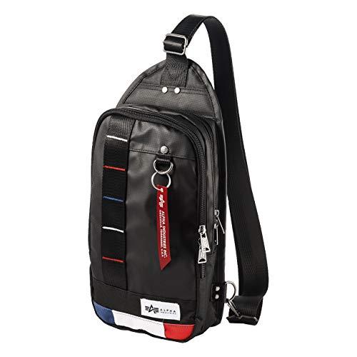 [アルファ インダストリーズ] ボディバッグ ショルダーバッグ 3ポケット 長財布/ペットボトル 収納 光沢生地 トリコロール 200-BAG129TR