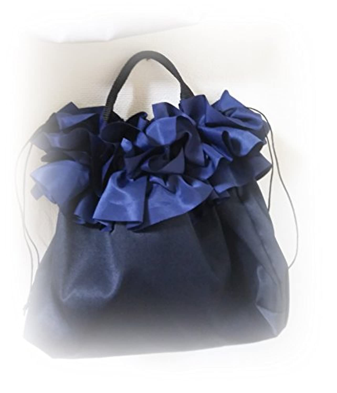 チッティ バッグ 5314-14 ネイビーブルー フリルバッグ サブバッグ 巾着式