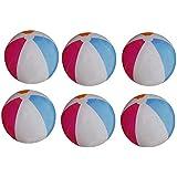 SFAM インフレータブルビーチボール (6個パック) マルチカラー