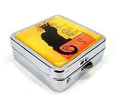 ミラー付き アートな 猫 デザイン 小さな 金属製 ピルケース 収納ケース