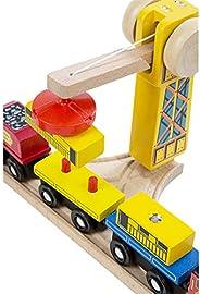 Melissa & Doug 701 Wooden Railway Set, Vehicles, High-Quality Construction, 130 Pieces, 17? H x 5? W x 2