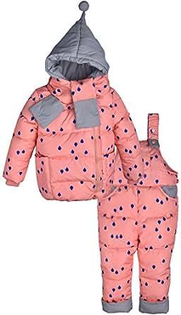 ZOEREA(ゾエレア) 子供ダウンジャケット 3点セット服 上着+ズボン+マフラー フード付き 長袖 ベビー綿コート 誕生日 秋冬 防寒 通学 男の子 女の子アウターウェア サロペット子供 マフラー ピンク 100