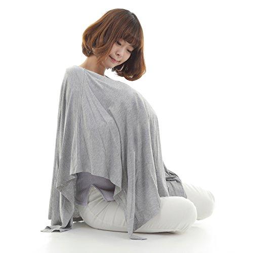 spinas 授乳ケープ ストール 360度安心 ポンチョ 授乳服 出産祝い 育児 (グレー)