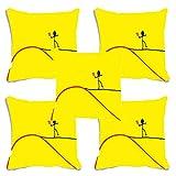meSleepクッションカバーセットの5デジタルプリントイエローLove DecorativeポリエステルThrowポリエステルSofa Couch正方形枕カバー12