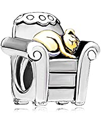 Valentine's Day Gifts Charm for Any Pandora Bracelet Golden Cat in Chair Charm