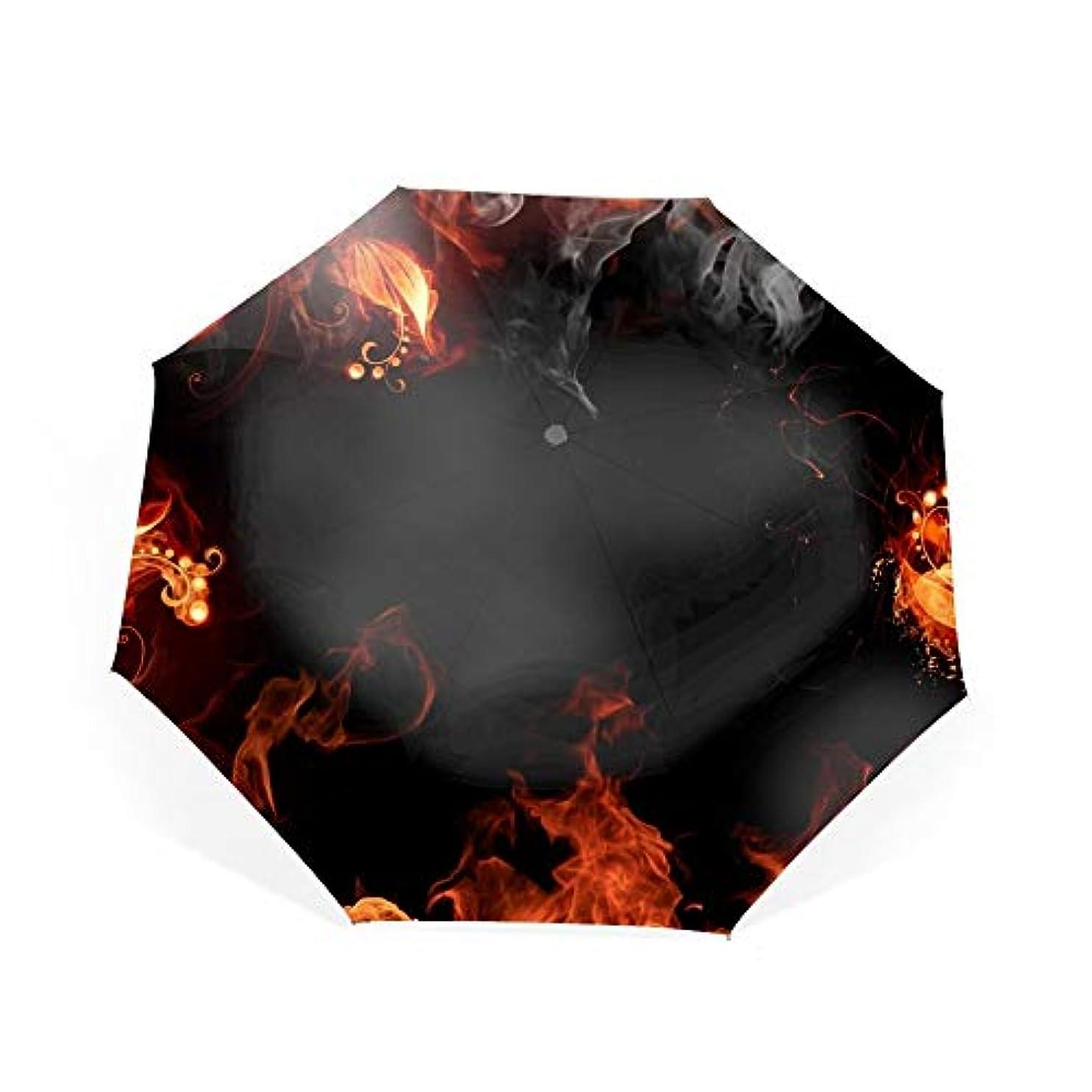 特派員見てメロドラマティック折り畳み傘 ワンタッチ自動開閉 日傘 晴雨兼用 軽量 紫外線遮断率99%以上日差しに超強いアナログ 傘強度アップ8本骨ガラス繊維 可愛いハンドル 耐風撥水 可愛い傘袋付き火災フレーム花柄火災花煙