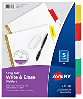 Big Tab Write-On Dividers w/Erasable Laminated Tabs, Clear, 5/Set (並行輸入品)