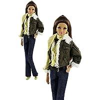 「ZITA ELEMENT」バービー人形用服装 6イン1 セット コート+ベスト+パンツ+マフラー +帽子+靴