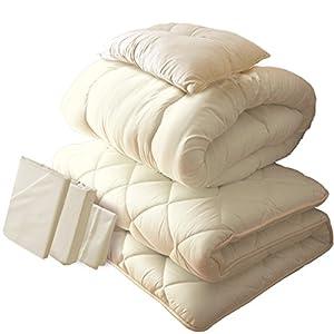 布団6点セット 日本製 帝人 ボリュームアップ アイボリーカバー付き 抗菌 防臭 防ダニ加工 シングル アイボリー 固綿5層式