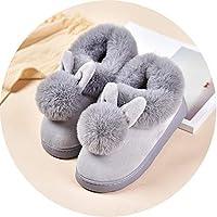 女性の子供の子供の男の子と女の子の毛皮の暖かい屋内家庭用綿の靴の冬のかわいい親子コットンスリッパバッグ,40/41は38-39ヤードを着用するのに適しています,灰色大人