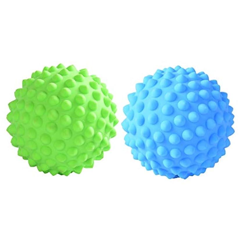 乗り出す混雑パースマッサージローラーボール 指圧ボール PVC トリガーポイント 筋膜 疲労軽減 健康的 2個入