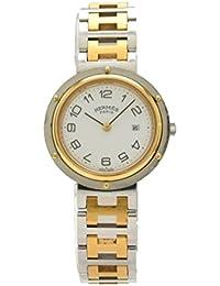 [エルメス] HERMES クリッパー 30mm ホワイト文字盤 SS GP コンビ ボーイズ ユニセックス クォーツ 腕時計 CL4.420