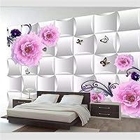 Wuyyii 壁紙カスタム壁画壁紙高級3Dチューリップスペースボックス蝶背景壁ピンクローズ3Dソフトバッグ装飾A-280X200Cm