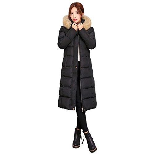 Yusoi レディース ロングダウンコート ダウンジャケット ロングコート フード付き フェイクファスナー アウター 中綿 大きいサイズ 秋冬 軽量 L