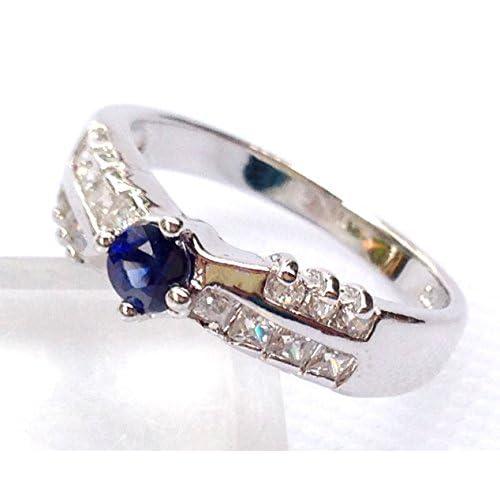 【海外製】 ASREY 大粒 0.5ct. サファイア 指輪リング 誕生石 9月 シンセティック シルバー
