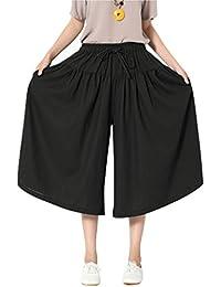 (ラックスジョイ) LAX JOY ワイドパンツ レディース ガウチョパンツ スカーチョ ガウチョ スカンツ リボン スカート風 無地 おしゃれ