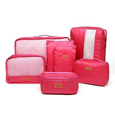 Kroeus 7set Packing Cubes Travel Luggage Organizer Compression Pouches