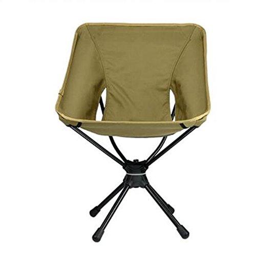 アウトドア ポータブル フォールディング 手軽 椅子 マクラ付き ポータブル 耐荷重145kg アウトドアチェア 登山 釣り 360度回転 (カーキ)