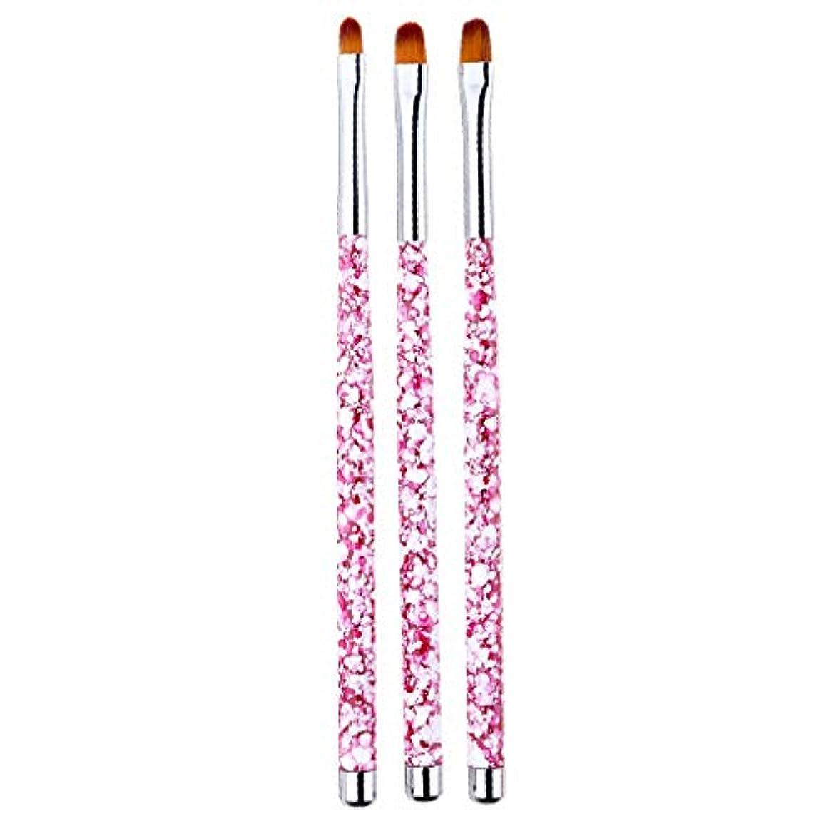 練習に変わるルネッサンスネイルアート 筆 ネイルブラシ 丸い 尖った先端 絵画ブラシ ペン 画筆 UV用 全4色 - ピンク