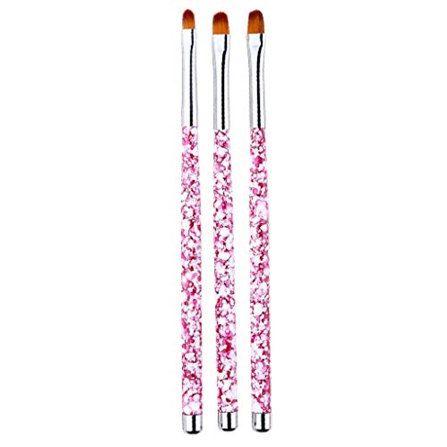 傷つきやすい意見スロベニアネイルアート 筆 ネイルブラシ 丸い 尖った先端 絵画ブラシ ペン 画筆 UV用 全4色 - ピンク