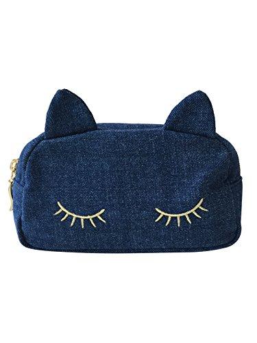[해외]AJMstyle 고양이 고양이 귀 데님 화장품 화장품 파우치 지갑 필통 고양이 고양이 고양이 메이크업 파우치 여성 312/AJMstyle Cat Cat Ear Denim Cosmetics Pouch Accessory Pen Case Cat Neko Nyanko Makeup Pouch Women`s 312