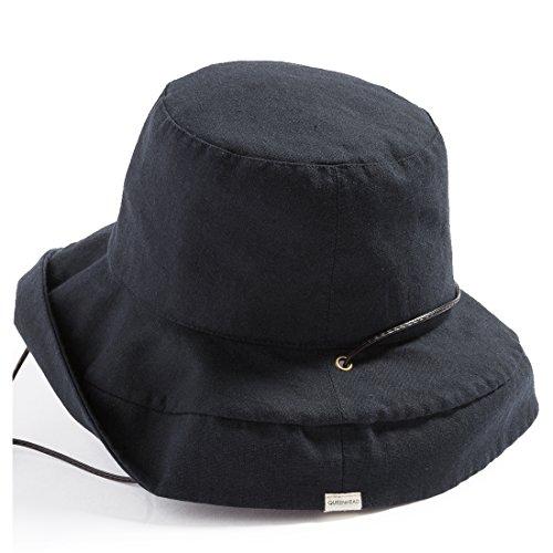クイーンヘッド 紐付きブリムフレンチハット UVカット 帽子 レディース ハット 大きいサイズ つば広 紫外線 サファリハット (フリー 56-58.5cm, ブラック)