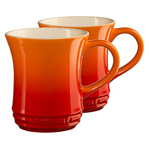 Le Creuset Flame Stoneware 14オンスTea Mug , Set of 2