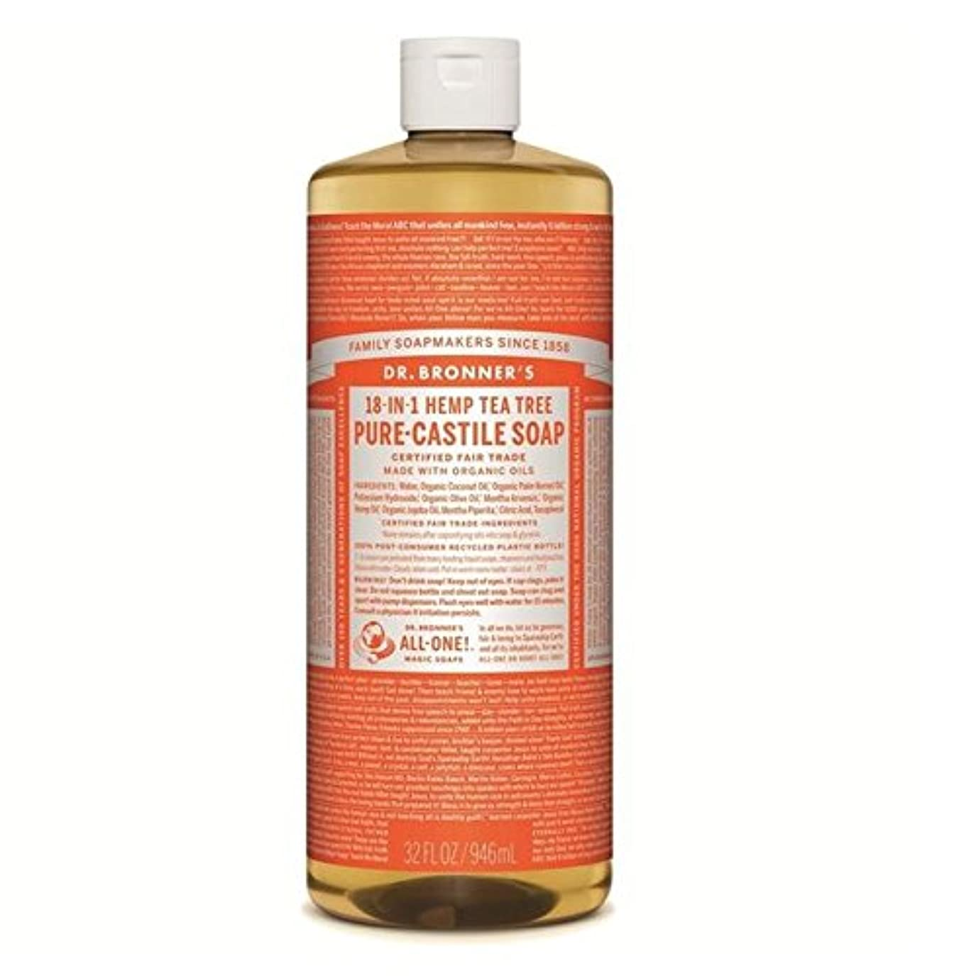 Dr Bronner Organic Tea Tree Castile Liquid Soap 946ml (Pack of 6) - のブロナーオーガニックティーツリーカスティーリャ液体石鹸946ミリリットル x6 [...