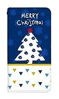 スマホケース 手帳型 asus zenfone 2 ZE551ML ケース かわいい おしゃれ デザイン 柄 クリスマスツリー 冬 0153-A. ブルーツリー ZE551ML カバー 手帳 [ZenFone2 ZE551ML] エイスース ゼンフォン2 ベルトなし スマホゴ
