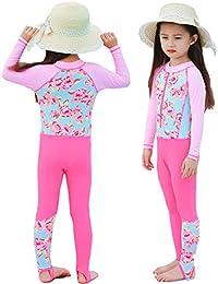 65675dccd2cef 女の子 ワンピース 水着 キッズ ラッシュガード水泳 スイムウェアベビー 子供 セパレート 長袖 スクール水着 紫外線カット 帽子付き 2点 3点セット  (6タイプ&6色…