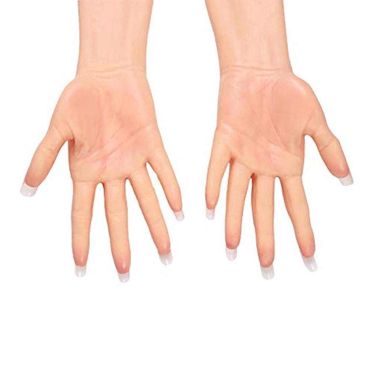 希少性動中止します女性の肌の色擬似皮膚シリコーン手袋カバー手のやけど擬似皮膚シリコーン手袋手の瘢痕閉塞義足,ColorNO.2,Nonails