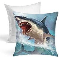 怖いサメ シャチ クッション 中身 背当て クッション 中材 45x45 ポリエステル綿 洗える ふわふわ シンプル 低反発 座布団 抱き枕 通気性 オフィス/椅子/ソファー/部屋/車/インテリア 飾り