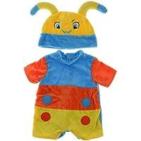 Lovoski 全2色 18インチドール人形 可愛い アクセサリー パジャマ ミツバチデザイン ジャンプスーツ 帽子セット - ブルー