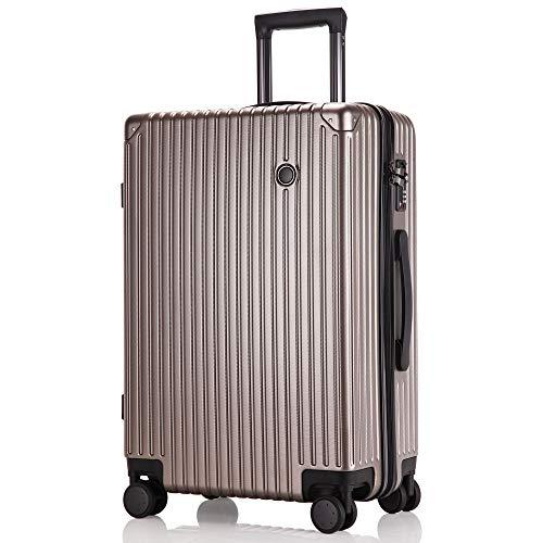 アキル(Arkkil) スーツケース 超軽量 機内持込み キャリーバッグ 8輪 静音 キャリーケース TSAロック付 Sサイズ/Mサイズ/Lサイズ ファスナー式 大型 人気色 ビジネス 旅行 安心の1年保証 ゴールド gold Sサイズ 約39L