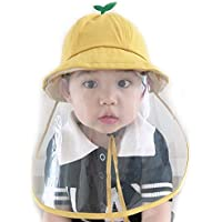MEGICOT Baby 5-14 Months Protective Hats with Detachable Safety Face Shield, Anti-Fog Anti-saliva Anti-Spitting Full Face Guard Protection Sunhat for kids (Yellow)