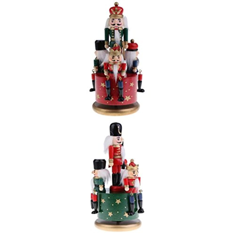 Kesoto 木製 4兵士 ナットクラッカー オルゴール インテリア 飾り クリスマス ギフト 2点セット