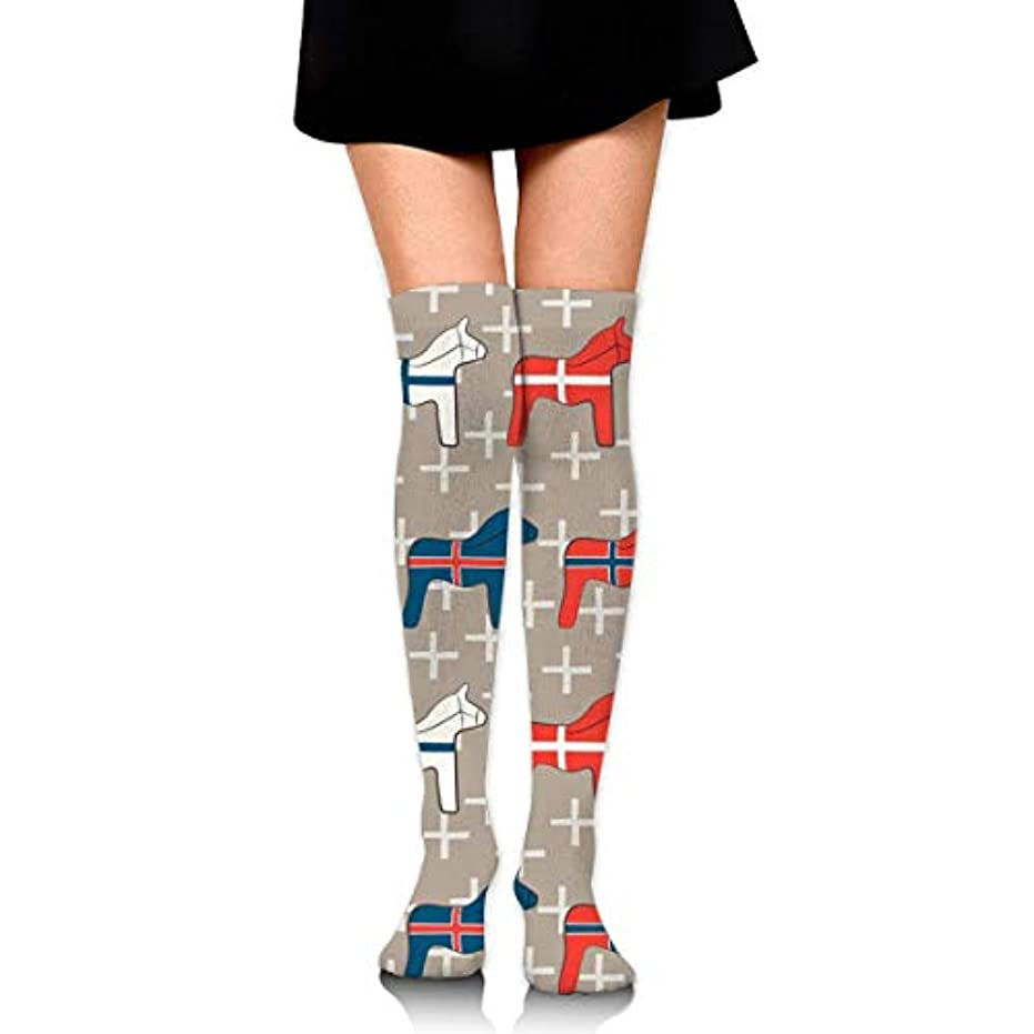 に変わる外向きナサニエル区MKLOS 通気性 圧縮ソックス Breathable Extra Long Cotton Mid Thigh High Wooden Dala Horses Exotic Psychedelic Print Compression...
