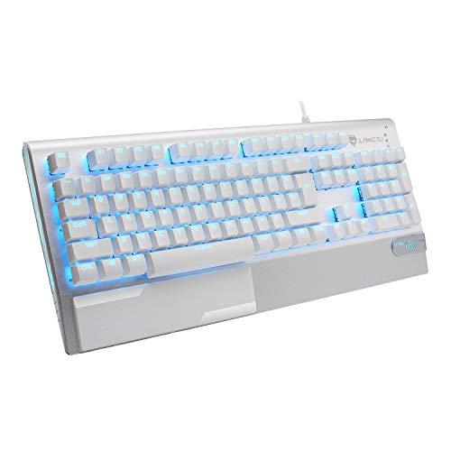 LANGTU ゲーミングキーボード メカニカルキーボード 青軸 ゲーム キーボード LED バックライト USB 104キー 防衝突 防水 有線キーボード キーキャププーラー付き 日本語取扱書付き シルバー