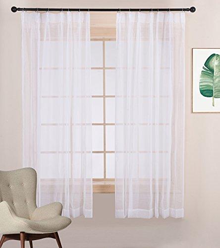 遮光カーテンとの相性がぴったり ミラーレースカーテン 2枚セット ナチュラル ホワイト UVカット 風通し 幅100cm丈110cm by NICETOWN