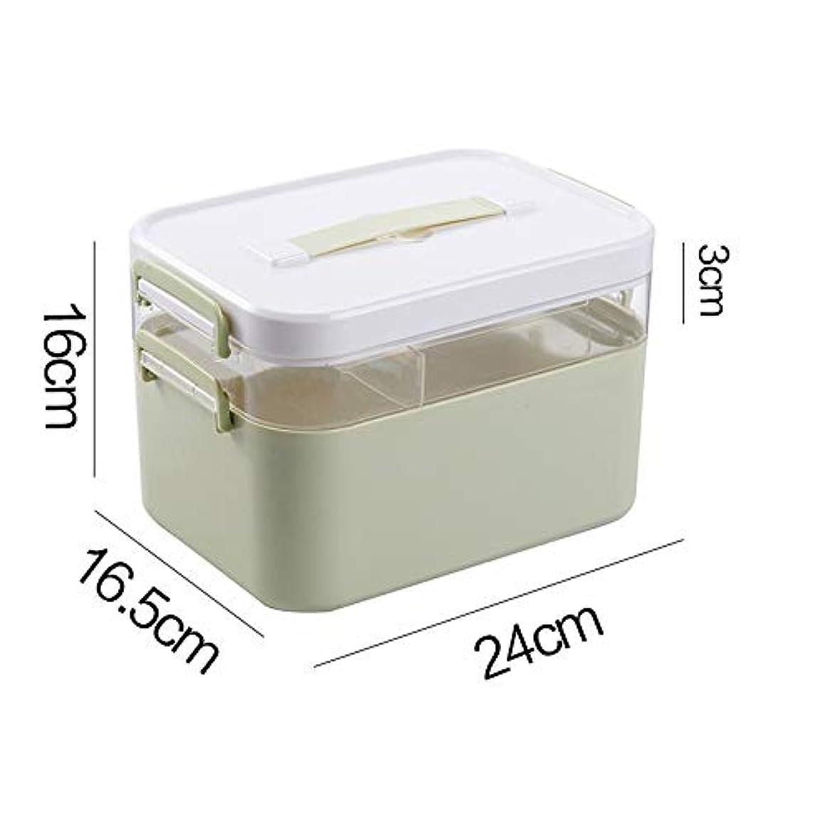 ナビゲーションシャイ鍔NYDZDM 薬箱収納ボックス、職場応急処置キット、ファミリープラスチック応急処置収納ボックス (Color : Double layer, Size : M)