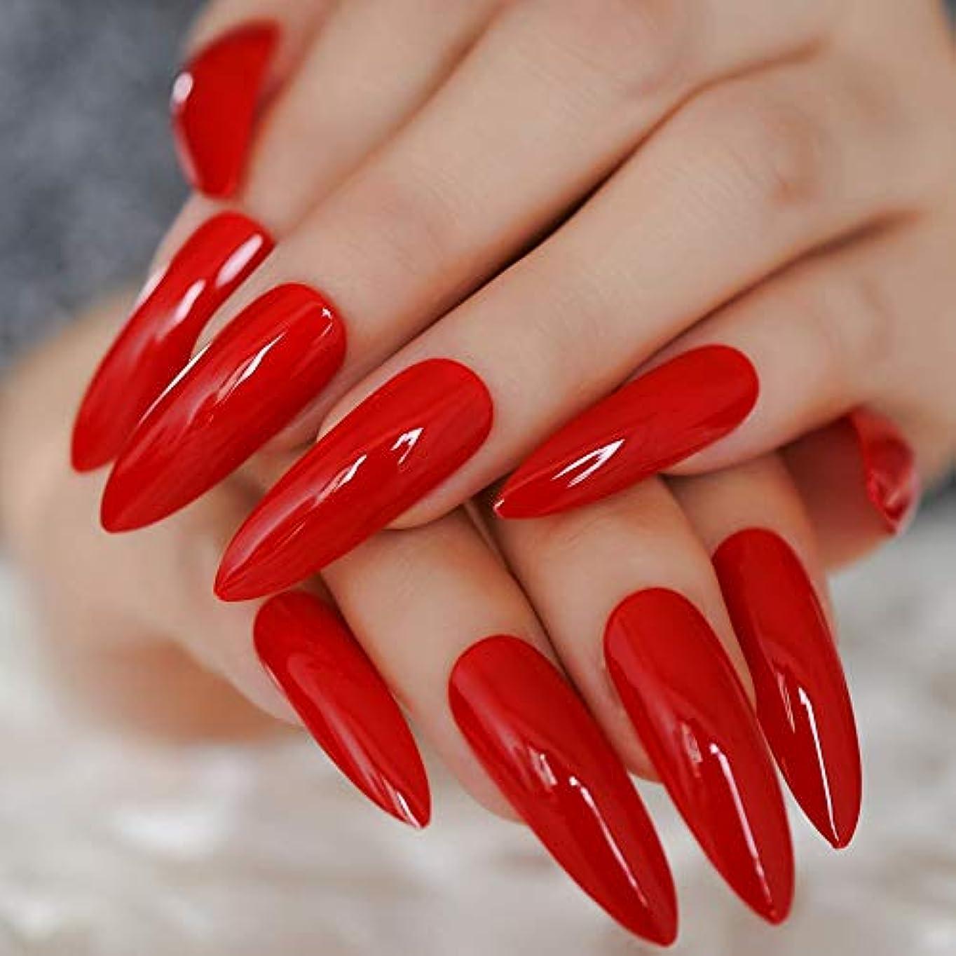 クラッチ強度乳白色XUTXZKA 赤い偽の爪指のための極端な長い砂糖の爪24