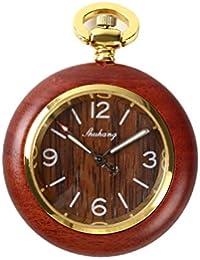 【クロノシア】懐中時計 アンティーク 日本製 ムーブメント 木製 ウッド ネックレス レディース クォーツ (アラビア数字)